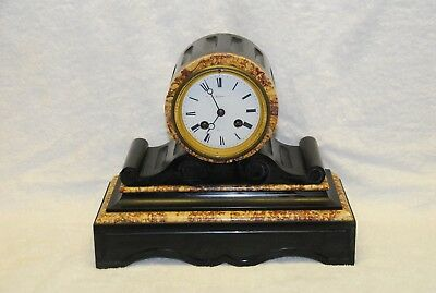 French Black Slate and Rouge Marble Drumhead Mantel Clock - Not Working