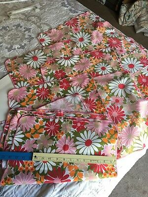 Vintage Flowers Pink Retro 70s 80s Set Of 12 Tablecloth Napkins