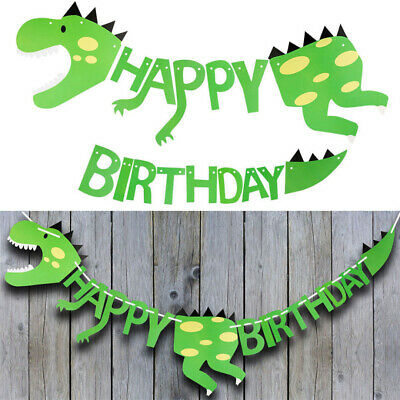 Dinosaur Happy Birthday Paper Banner Hanging Bunting Party Decoration Garland
