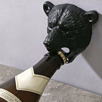 Vintage Cast Iron Wall Mounted Bear Bottle Opener Kitchen Beer Black/ Brown US