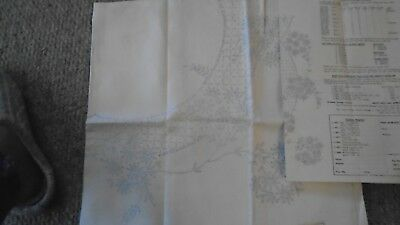 """vintage irish linen  45"""" tablecloth  embroidery stamped with transfer pattern"""
