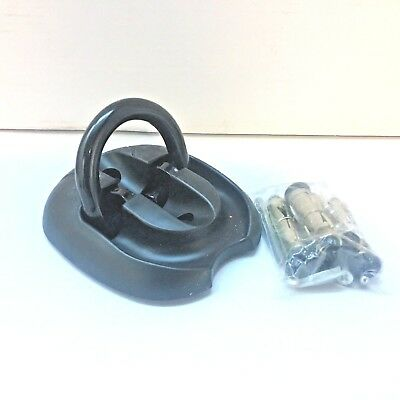Motorcycle Ground Anchor Slight Seconds Black Flip Style With Parts New