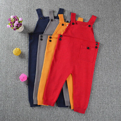 Toddler Kids Baby Boys Girls Knitted Overalls Strap Rompers Jumpsuit Outfits AU