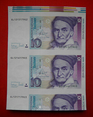 2 x 10 Deutsche Mark 1993 uncut sheet and with colored top edge, Pick 38c in UNC