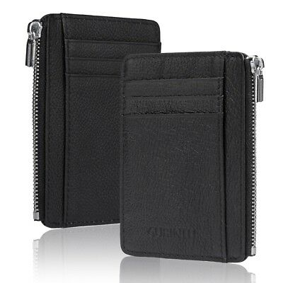 Slim Wallet Unisex Ultra Thin Minimalist Small Coin Purse Compact Leather Zipper