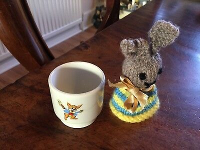 Vintage Child's Bunny Rabbit Egg Cup & BUNNY Egg Cosy Easter Gift Dudson Ltd