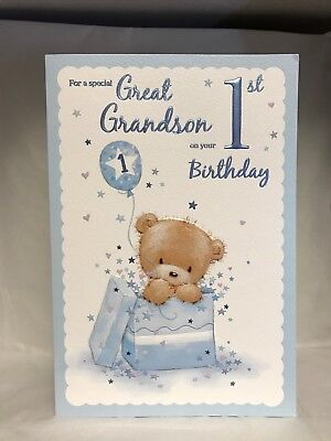 Special Great Grandson 1st Birthday Cute Card