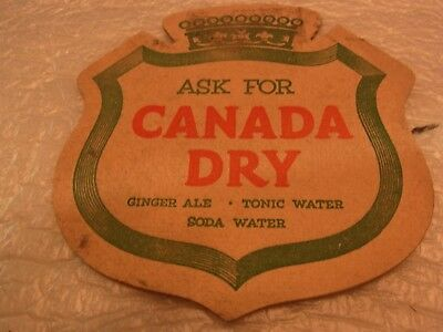 Vintage Ask For Canada Dry Heavy Paperboard Double Side Coaster For Display