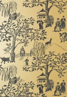 Anna French Thibaut Willow Wood At7916 Gold Black Toile