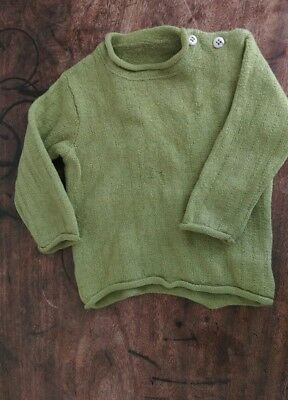 Disana green baby wool jumper age 12 months