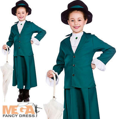 Victorian Nanny Girls Fancy Dress World Book Day Kids Childs Costume Outfit New