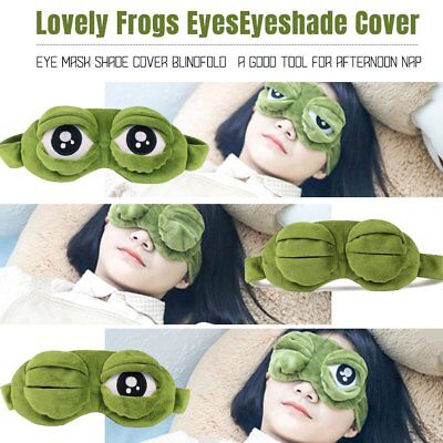 3D Green Frog Travel Sleeping Eye Mask Shade Relax Blindfold Sleep Cover Light Q