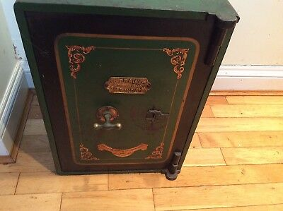 Old Cast Iron Safe W E BRAIN Original Condition + Key Ideal Side Table