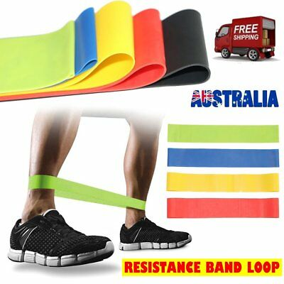 Set Of 4 Heavy Duty Resistance Band Loop Power Fitness Exercise YOGA WORKOUT C1