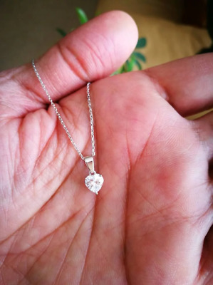 1Ct Diamond Solitaire Heart Shape Pendant Necklace and Chain 14K White Gold