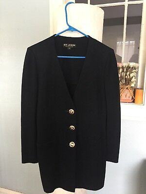 Womens Vintage St John Basics Marie Gray Santana Knit Black Suit Blazer Jacket 6