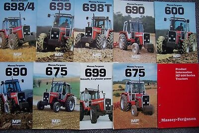 9 Massey Ferguson 600 Series Tractors Sales Brochures & Product Guide.