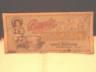 Vintage Bunte Marshmallows Tin Tacker Sign 8 1/2 X 19 Has Some Bends Light Rust
