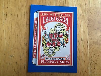Topps 2017 Wacky Packages 50Th Anniversary Blue Sticker Lady Gaga Poker Face 5