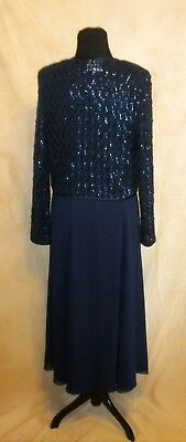 Ursula Of Switzerland Navy Blue Crepe Evening Gown With Crocheted Jacket Sz 10