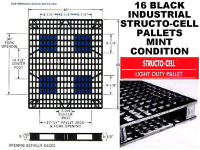 Lot of 16 x STRUCTO CELL INDUSTRIAL FORKLIFT PALLETS 48L x 40W x 4.75H LOCAL PU