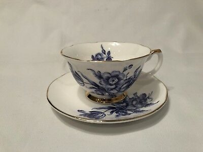Bethany Fine Bone China Tea Cup & Saucer Made in England Blue & White Gold Trim