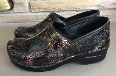 Dansko Clogs 40 Multi Color Shiny Shoes Nursing Professional 9 GUC Women's