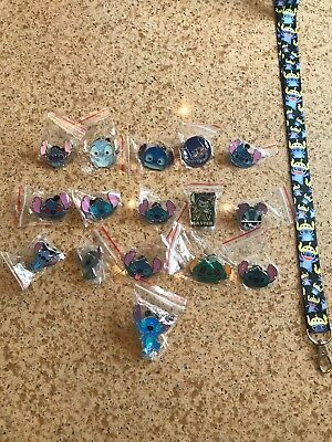 Stitch Disney Pin Lot of 16 W/ STITCH  LANYARD US SELLER