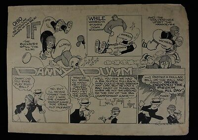1920s Danny Dumm by Russell College Football Original Comic Strip Cartoon Art