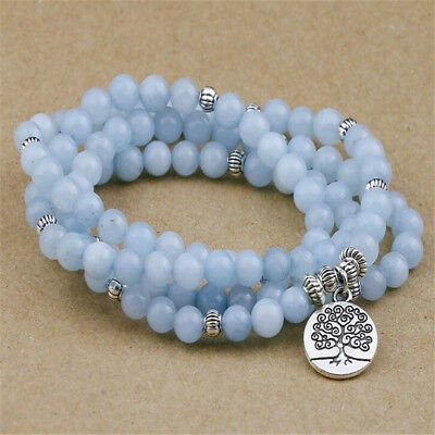 6MM 108 Blue Chalcedony Stone Beads Women Bracelet Meditation Unisex Sutra