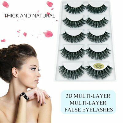 3D Mink Eyelashes 5 Pairs natural False Long Thick Handmade Lashes Makeup F7