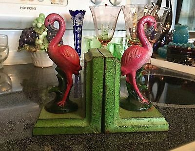 Antique Pair/Set Cast Iron Pink Flamingo Hand Painted Bookends Old Florida