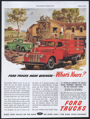 1946 Ford ad green Ford Pickup red stake body Truck
