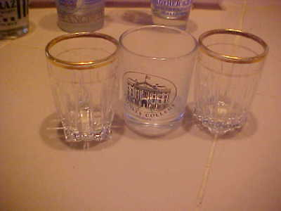 Shot Glass  Trinity College Dublin & (2) Nice Glasses With Gold Trim Lot