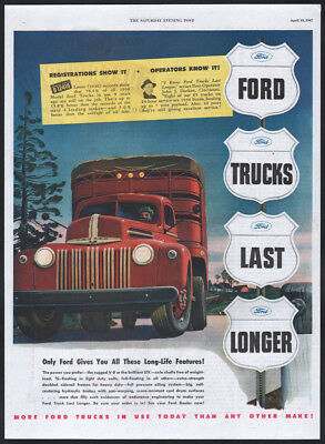 1947 Ford ad red Ford Semi tractor trailor truck