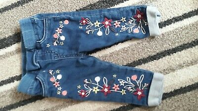 Tu Baby Jeans Embroidered floral Size 3-6 months