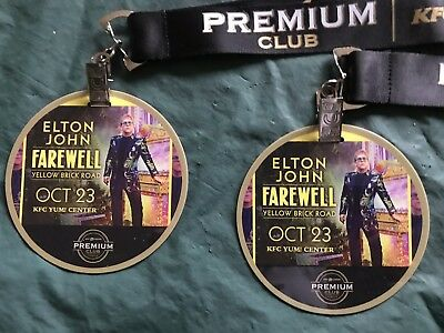 2 Elton John Farewell Yellow Brick Road Premium Club Member Badges With Lanyards