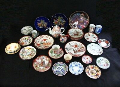 Chinese Japanese Large Hand Painted Porcelain Collection Plates Cups Teapot Etc.