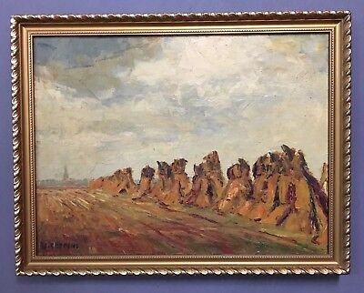 Large Antique French Oil On Board Painting In Gold Gilt, Signed