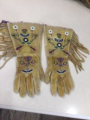 Beautiful Pair Of Antique Crow Native American Indian Beaded Gauntlets