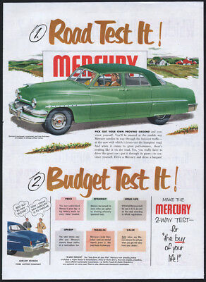 1951 Mercury ad green Mercury 4-door Sedan