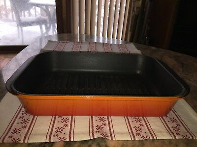Le Creuset Rectangular Grill Baking Dish Cast Iron 40Cm Orange Used France