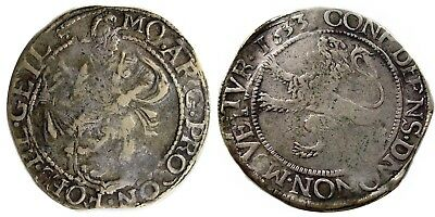 1633 Netherlands SILVER LION DOLLAR, VF, circulated in New York colony