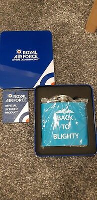 Raf Official Royal Air Force Back To Blighty Blue Hip 5Oz Flask Gift With Box