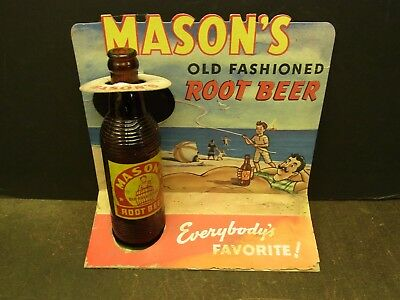 Vintage Mason's Old Fashioned Root Beer Cardboard Bottle Display 10 X 12