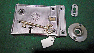 VINTAGE RUSSELL & ERWIN RIM LOCK w/KEY & KEEPER: RECONDITIONED - NICE  (11240)