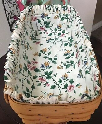 longaberger bread basket W/protector & fabric! 15 X 8 Inches-Floral Fabric 2000