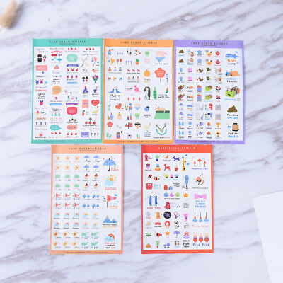 5 Sheets Cute Paper Stickers For DIY Po Album Scrapbook Calendar Diary Set Hu