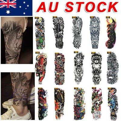 36cec032f1951 Large Cool Men Waterproof Temporary Tattoos Arm Fake Transfer Tattoo  Stickers O5