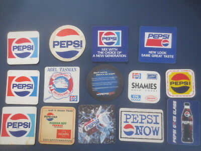 14 different PEPSI -COLA mainly Australian Issue soft drink Coasters